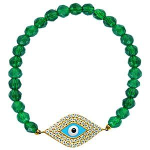 Silver Yellow Gold Green Evil Eye Stretch Bracelet